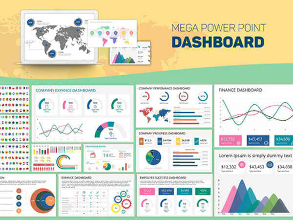 Mega PowerPoint & Keynote Dashboard Creator Kit - Mega Dashboard Slides 2