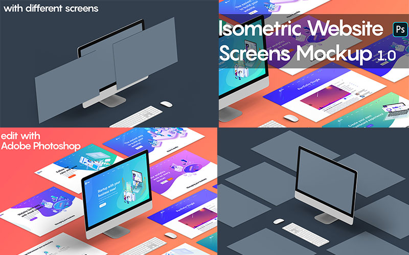 Isometric Website Mockups Version 1