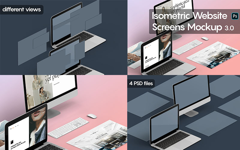Isometric Website Mockups Version 3