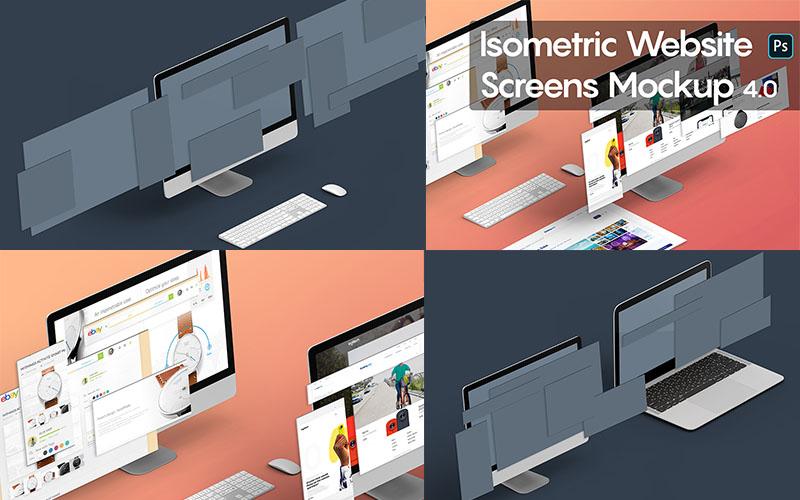 Isometric Website Mockups Version 4