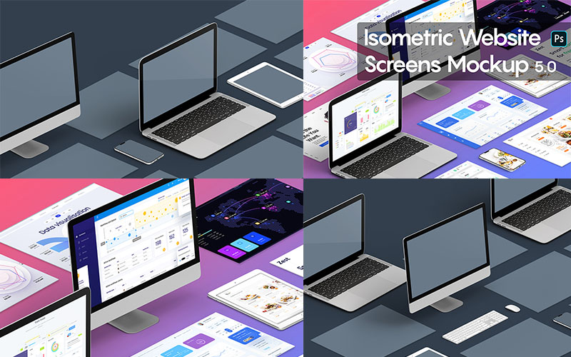 Isometric Website Screen Mockups Version 5
