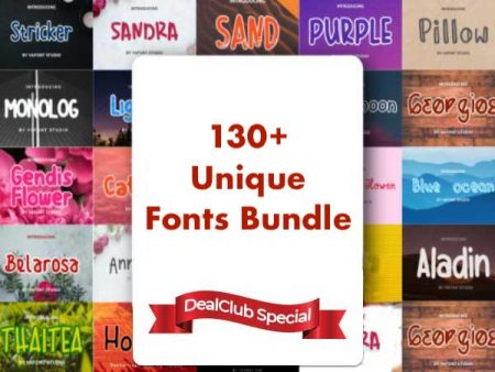Dealfuel 130+ Unique Fonts Bundle