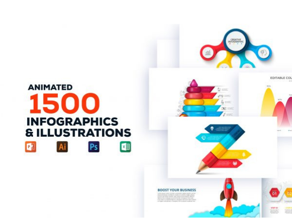 Lifetime Access: 1500 Animated Infographics & Illustrations Bundle