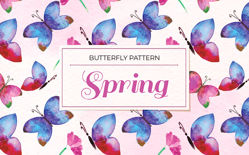 Butterfly Pattern Blue Background